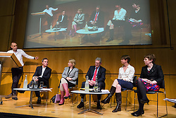 © Licensed to London News Pictures. 19/03/2015. London, UK. UKIP member, Peter Whittle; Green party leader, Natalie Bennett; Liberal democrat Chief Whip, Don Foster, Shadow Home Secretary, Yvette Cooper; Leader of the House of Lords, Baroness Tina Stowell answer questions at the Pink News LGBT election debate held at the Welcome Collection in central London. Photo credit : Vickie Flores/LNP