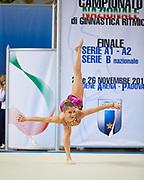 Camilla Bassetti from Nervianese team during the Italian Rhythmic Gymnastics Championship in Padova, 25 November 2017.