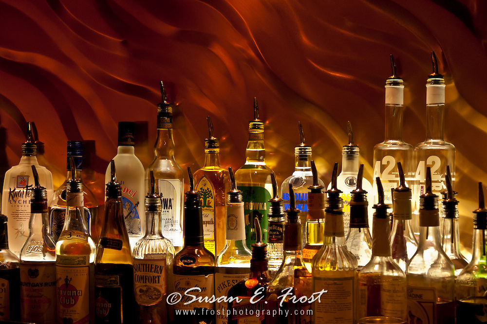 Liquor display at bar in London, England