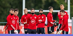 CARDIFF, WALES - Wednesday, September 2, 2020: Wales Under-21 players watch the senior team during a training session at the Vale Resort ahead of the UEFA Nations League Group Stage League B Group 4 match between Finland and Wales. Cameron Coxe. (Pic by David Rawcliffe/Propaganda)