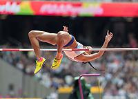 Athletics - 2017 IAAF London World Athletics Championships - Day Two (AM Session)<br /> <br /> Event: High Jump Women - Heptathlon<br /> <br /> Katarina Johnson-Thompson (GBR) clears the bar  <br /> <br /> COLORSPORT/DANIEL BEARHAM
