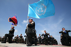 April 25, 2017 - Phnom Penh, Cambodia -Cambodian peacekeepers take an oath of allegiance before leaving for Mali in Phnom Penh. Cambodia sent the fourth batch of 309 troops, including 25 females, to join a United Nations peacekeeping mission in the conflict-torn West African nation of Mali on Tuesday, officials said. (Credit Image: © Sovannara/Xinhua via ZUMA Wire)