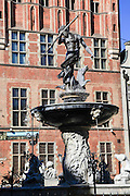 The fountain of Neptune, in front of the old Town Hall Gdansk, Poland