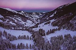 THEMENBILD - das hintere Glemmtal bei Sonnenuntergang, aufgenommen am 26. Dezember 2018 in Hinterglemm, Oesterreich // the rear Glemmtal at sunset, Hinterglemm, Austria on 2018/12/27. EXPA Pictures © 2018, PhotoCredit: EXPA/ JFK