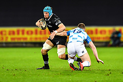 Ospreys' Justin Tipuric is tackled by Leinster's Rory O'Loughlin<br /> <br /> Photographer Craig Thomas/Replay Images<br /> <br /> Guinness PRO14 Round 18 - Ospreys v Leinster - Saturday 24th March 2018 - Liberty Stadium - Swansea<br /> <br /> World Copyright © Replay Images . All rights reserved. info@replayimages.co.uk - http://replayimages.co.uk