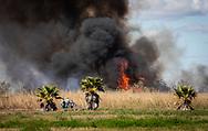 Fire in Lower Dulac, Louisiana.