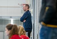 ROTTERDAM -  Hurley coach Teun Rohof.  dames Hurley-Oranje Rood, Hurley plaatst zich voor halve finales NK  ,hoofdklasse competitie  zaalhockey.   COPYRIGHT  KOEN SUYK