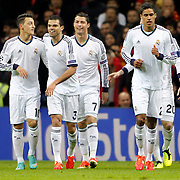 Real Madrid's Cristiano Ronaldo (C) celebrate his goal with team mate during their UEFA Champions League Quarter-finals, Second leg match Galatasaray between Real Madrid at the TT Arena AliSamiYen Spor Kompleksi in Istanbul, Turkey on Tuesday 09 April 2013. Photo by Aykut AKICI/TURKPIX