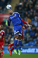 Kenneth Zohore of Cardiff city in action. EFL Skybet championship match, Cardiff city v Birmingham City at the Cardiff City Stadium in Cardiff, South Wales on Saturday 11th March 2017.<br /> pic by Andrew Orchard, Andrew Orchard sports photography.