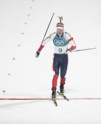 PYEONGCHANG, Feb. 15, 2018  Norway's Johannes Thingnes Boe crosses finishing line of men's 20km individual event of biathlong at 2018 PyeongChang Winter Olympic Games at Alpensia Biathlon Centre, PyeongChang, South Korea, Feb. 15, 2018. Johannes Thingnes Boe claimed champion in a time of 48:03.8. (Credit Image: © Bai Xuefei/Xinhua via ZUMA Wire)
