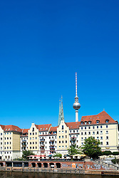 Skyline of Berlin and Spree River at Nikolaiviertel historic district in Mitte Berlin Germany