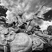The Ulysses S. Grant Memorial on the National Mall, Washington, D.C.  This image focuses on the Artillery Group portion of the memorial.