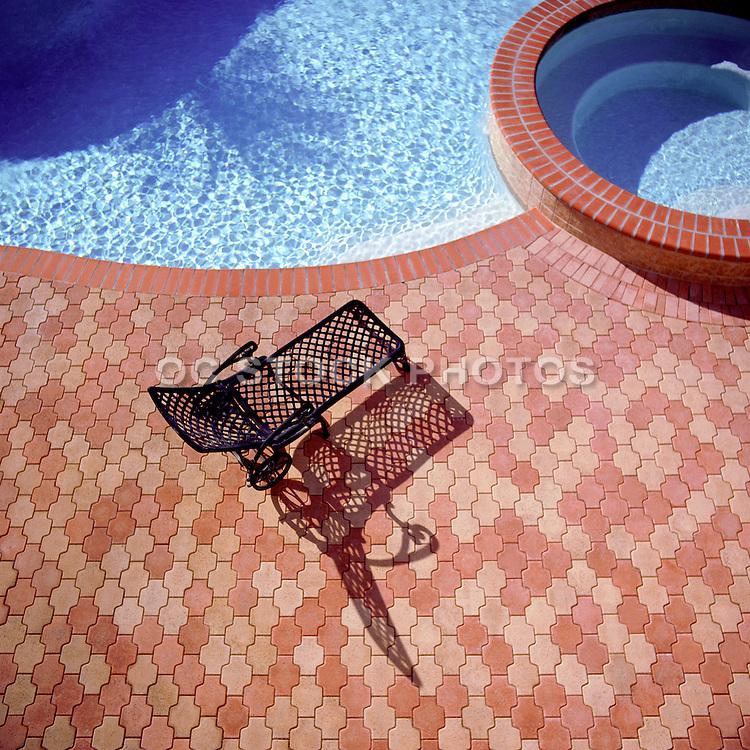 Swimming Pool And Jacuzzi With Brick Interlocking Pavers