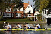 Henley, Great Britain, left to right, Andy TWIGGS HODGE, Peter REED, Steve WILLIAMS and Tom JAMES, Row past through the town from the RRM to UTRC,  Olympic celebration, on Sat 11.10.2008. [Mandatory Credit: Peter Spurrier]