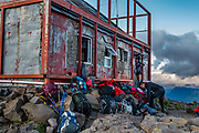 """Scenes from Refugio Otto Meiling. Cerro Tronador is an extinct stratovolcano in the southern Andes, near Bariloche, in the Lake District of Argentina. The sound of falling seracs gave it the name Tronador, Spanish for """"Thunderer."""" With an altitude of 3470 m, Tronador stands more than 1000 meters above nearby mountains in the Andean massif, making it a popular climb in Patagonia, South America. Located inside two National Parks, Nahuel Huapi in Argentina and Vicente Pérez Rosales in Chile, Tronador hosts eight glaciers, which are retreating due to warming of the upper troposphere."""