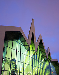 Dusk view of new Riverside Museum of Transport in Glasgow Scotland UK Architect Zaha Hadid
