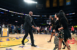 File photo of Former Los Angeles Laker Kobe Bryant greets his family during his jersey retirement ceremony at the Staples Center Monday, Dec. 18, 2017 in Los Angeles. (Wally Skalij/Los Angeles Times/TNS/ABACAPRESS.COM)