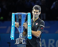 Serbia's Novak Djokovic winner of the 2014 Barclays ATP World Tour Finals, O2 Arena, London, United Kingdom on 16 November 2014 © Pro Sports Images