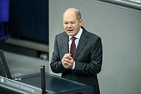 08 DEC 2020, BERLIN/GERMANY:<br /> Olaf Scholz, MdB, SPD, Bundesfinanzminister, Haushaltsdebatte, Plenum, Reichstagsgebaeude, Deuscher Bundestag<br /> IMAGE: 20201208-02-036<br /> KEYWORDS: Rede