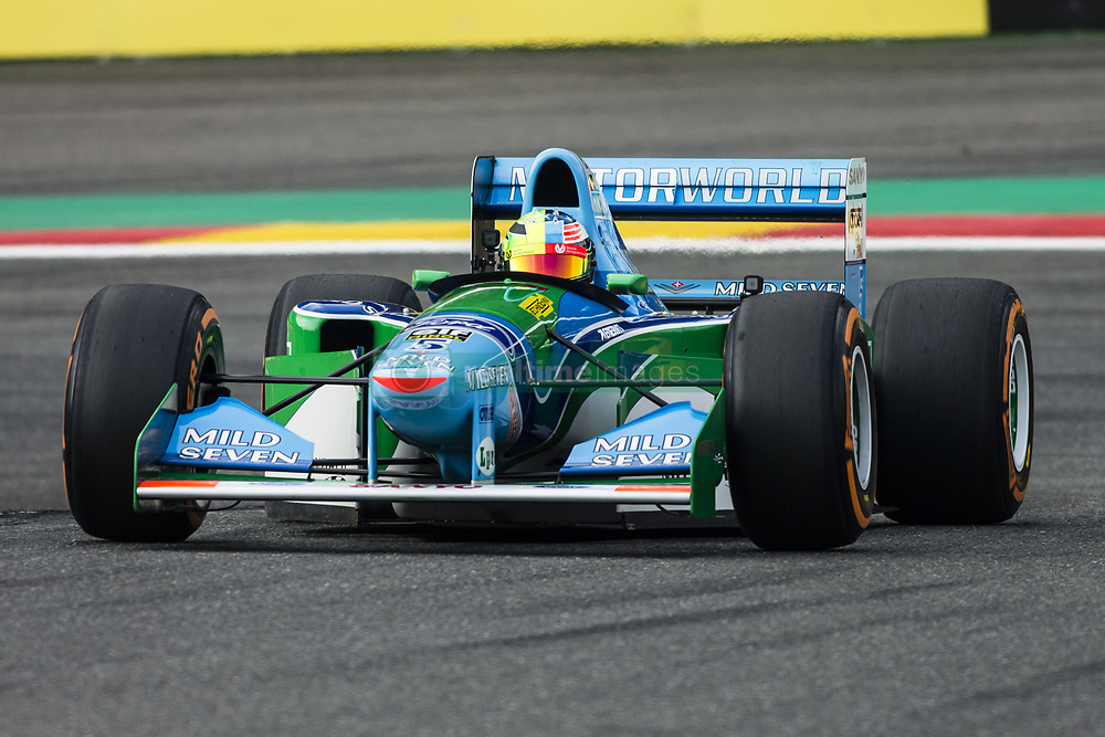 August 27, 2017 - Spa, Belgium - SPA, BELGIUM - AUGUST 27: Mick Schumacher driving his father's car on the 25th anniversary of the F1 Bennetton of Michael Schumacher during the Formula One Belgian Grand Prix at Circuit de Spa-Francorchamps on August 27, 2017 in Spa, Belgium. (Credit Image: © Xavier Bonilla/NurPhoto via ZUMA Press)