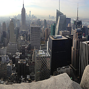 A panoramic iPhone view of Manhattan, New York, from the Top of the Rock, the observatory deck at Rockefeller Center showing the Empire State Building, Manhattan, New York, USA. 26th November 2012. Photo Tim Clayton