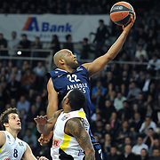 Anadolu Efes's Alfred Jamon Lucas (C) during their Euroleague Top 16 round 7 basketball match Anadolu Efes between Fenerbahce Ulker at the Abdi Ipekci Arena in Istanbul at Turkey on Friday, February 21, 2014. Photo by Aykut AKICI/TURKPIX