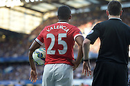 Antonio Valencia of Manchester United holding the ball before taking a throw in. Barclays Premier league match, Chelsea v Manchester Utd at Stamford Bridge Stadium in London on Saturday 18th April 2015.<br /> pic by John Patrick Fletcher, Andrew Orchard sports photography.