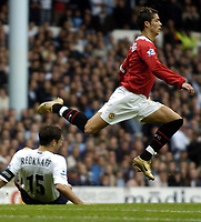 Fotball<br /> Premier League England 2004/2005<br /> Foto: BPI/Digitalsport<br /> NORWAY ONLY<br /> <br /> 25.09.2004<br /> <br /> Tottenham v Manchester United<br /> <br /> Christiano Ronaldo gracefully skips over a Jamie Redknapp tackle