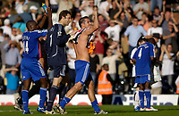 Photo: Daniel Hambury.<br />Fulham v Chelsea. The Barclays Premiership. 23/09/2006.<br />Chelsea's R-L Frank Lampard, Petr Cech and Geremi celebrate victory at the end of the game.