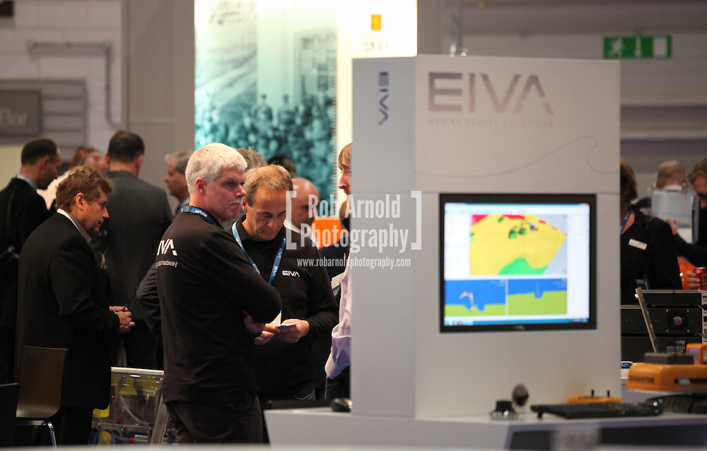 © Rob Arnold 11/03/2014. London, UK. The EIVA stand at Oceanology International (OI), the world's largest exhibition for marine science and technology, held at London's ExCeL Centre. The three day exhibition provides an opportunity for industry, academic and government organisations to share knowledge and promote improvements in technology and strategy used for operating, surveying, protecting and exploiting resources in the oceans of the world. Photo Credit : Rob Arnold