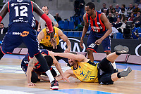 Baskonia's Ilimane Diop and Shane Larkin and Iberostar Tenerife's David White and Georgios Bogris during Quarter Finals match of 2017 King's Cup at Fernando Buesa Arena in Vitoria, Spain. February 16, 2017. (ALTERPHOTOS/BorjaB.Hojas)