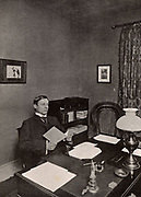 WW Jacobs. Wiliam Wymark Jacobs (1863-1943) English short story writer, born at Wapping, London, best remembered for his short stories which ranged from the humorous to the macabre such as 'The Monkey's Paw'.  Jacobs in his study at Buckhurst Hill, Essex, England.