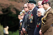 Ex-Japanese prisoner of War, Roy Welland (94) stands to honour the war dead during the Remembrance Day ceremonies at the Commonwealth War Cemetery in Hodogaya, Yokohama, Japan. Wednesday November 11th 2015 Roy Welland is from Colchester in Essex and served with the Royal Berkshire regiment in India in WW2