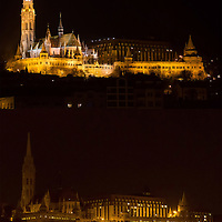 Combination photo of the Cityscape showing Mathias Church before (top) and during (bottom) the Earth Hour blackout in Budapest, Hungary on March 31, 2012. ATTILA VOLGYI