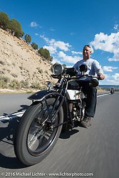 Doug Feinsod riding his 1920 Henderson Deluxe during stage 11 (289 miles) of the Motorcycle Cannonball Cross-Country Endurance Run, which on this day ran from Grand Junction, CO to Springville, UT., USA. Tuesday, September 16, 2014.  Photography ©2014 Michael Lichter.