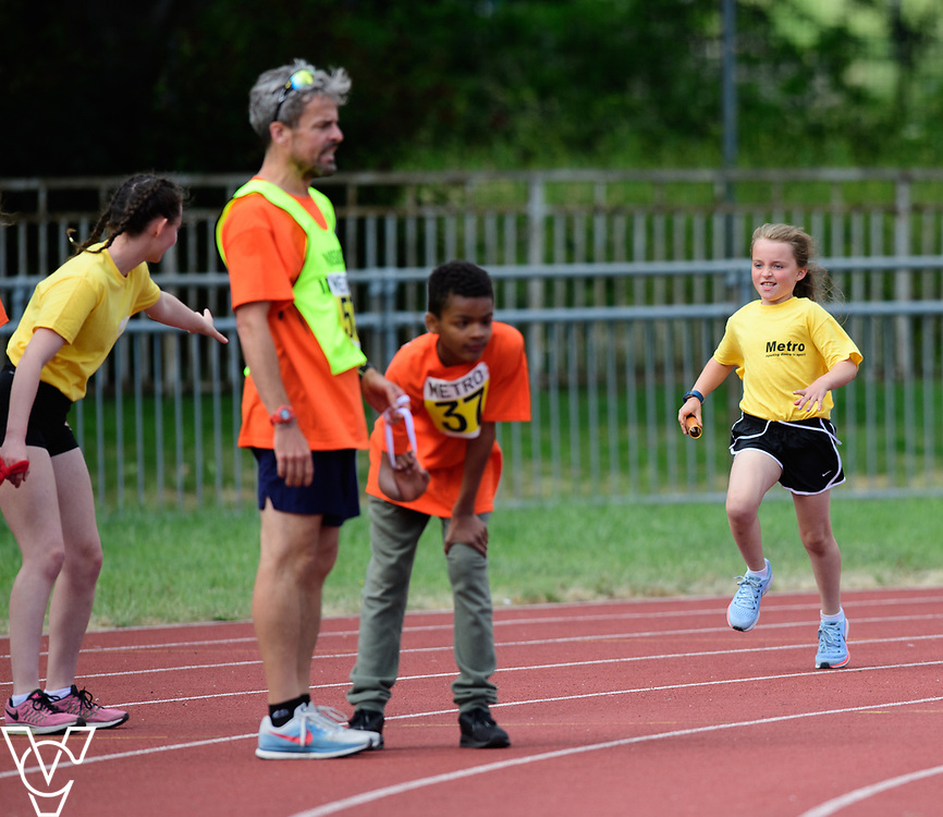 Event: 4x100 meter relay<br /> Competitors, from left: <br /> <br /> Metro Blind Sport's 42nd Athletics Open, held at Mile End Stadium, Tower Hamlets, London.<br /> <br /> Picture: Chris Vaughan Photography for Metro Blind Sports<br /> Date: June 16, 2018