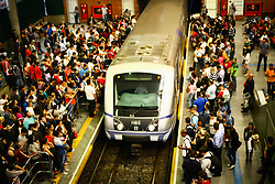 September 6, 2017 - Na foto, estação Barra Funda, da Linha 3 - Vermelha. Movimentação intensa nas estações do metrô, na manhã desta quarta-feira (06), véspera do feriado da Independência. (Credit Image: © Aloisio Mauricio/Fotoarena via ZUMA Press)