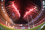 Fireworks go off just before the 1st RWC match kicks off. Rugby World Cup 2015 pool A match, England v Fiji at Twickenham Stadium in London on Friday 18th September 2015.<br /> pic by John Patrick Fletcher, Andrew Orchard sports photography.