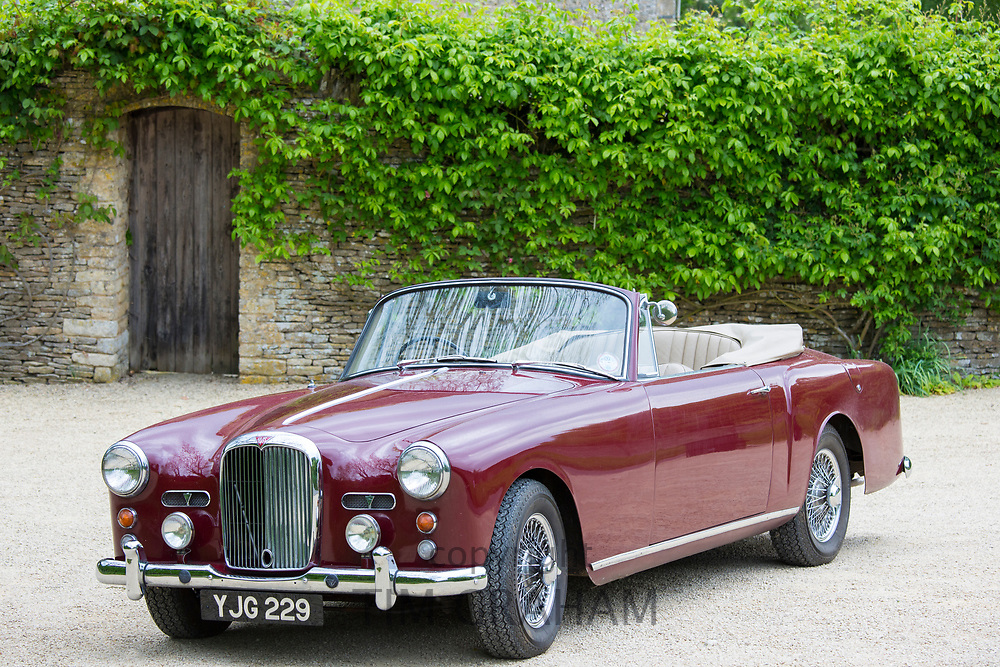 British made Alvis TD21 DHC Series 1 drophead coupe classic car parked in The Cotswolds, England