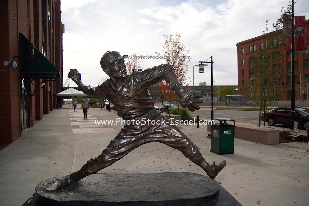St. Louis Missouri MO USA, Busch Stadium home of St. Louis baseball team the Cardinals 2006 World Series Champions statue of a pitcher October 2006