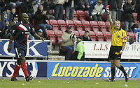 Photo: Aidan Ellis.<br /> Wigan Athletic v West Bromwich Albion. The Barclays Premiership. 15/01/2006.<br /> West Brom's Darren Moore is sent off
