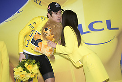 July 25, 2018 - Saint-Lary-Soulan, FRANCE - British Geraint Thomas of Team Sky celebrates on the podium in the yellow jersey of leader in the overall ranking after the 17th stage of the 105th edition of the Tour de France cycling race, from Bagneres-de-Luchon to Saint-Lary-Soulan (65 km), France, Wednesday 25 July 2018. This year's Tour de France takes place from July 7th to July 29th. BELGA PHOTO YORICK JANSENS (Credit Image: © Yorick Jansens/Belga via ZUMA Press)