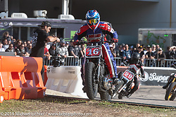 Tony Alves - Revival and Roland Sands sponsored races including the Super Hooligan main attraction, all which that took place on a tight TT race course set up in the parking lot of the Austin American Statesman drew crowds outside during the Handbuilt Show. Austin, Texas USA. Saturday, April 13, 2019. Photography ©2019 Michael Lichter.