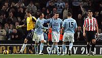 Photo: Paul Thomas/Sportsbeat Images.<br />Manchester City v Sunderland. The FA Barclays Premiership. 05/11/2007.<br /><br />Stephen Ireland (C) of City celebrates his goal with Elano (R) and Martin Petrov (15).