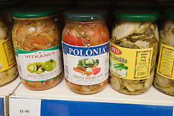 Close up of pickled vegetables from Poland on shop shelf,