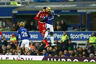 Miguel Angel Britos of Watford and Oumar Niasse of Everton jump for the ball. Premier league match, Everton vs Watford at Goodison Park in Liverpool, Merseyside on Sunday 5th November 2017.<br /> pic by Chris Stading, Andrew Orchard sports photography.