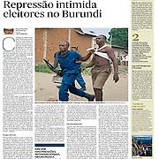 "Tearsheet of ""Burundi: Repressao intimida eleitores"" published in Expresso"