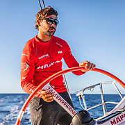 Leg 6 to Auckland, day 19 on board MAPFRE, Guillermo Altadill stearing as a PRO. 25 February, 2018.