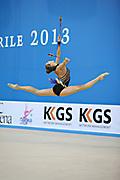 Halkina Katsiaryna during final at clubs in Pesaro World Cup 28 April 2013. Katsiaryna is a Belarusian rhythmic gymnastics athlete born February 25, 1997 in Minks, Belarus.