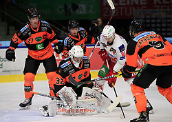 03.03.2019, Merkur Eisstadion, Graz, AUT, EBEL, Moser Medical Graz 99ers vs EC KAC, Platzierungsrunde, 51. Runde, im Bild von links Ty Loney (Moser Medical Graz 99ers), Simon Rönning (Moser Medical Graz 99ers), Karl Johansson (Moser Medical Graz 99ers), Marco Richter (EC KAC) und Matt Garbowsky (Moser Medical Graz 99ers) // during the Erste Bank Eishockey League 51th round match between Moser Medical Graz 99ers and EC KAC at the Merkur Eisstadion in Graz, Austria on 2019/03/03. EXPA Pictures © 2019, PhotoCredit: EXPA/ Erwin Scheriau